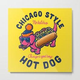 Da Chicago Dog With Text Metal Print