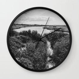 Nymindegab Lakes Landscape Denmark bw Wall Clock