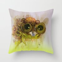 playstation Throw Pillows featuring Weedy Playstation Frankenstein by Kid Doom