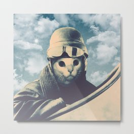 Flight Cat Metal Print