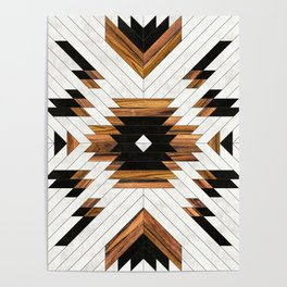 Urban Tribal Pattern No.5 - Aztec - Concrete and Wood Poster