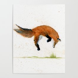Jumping Jack Fox - animal watercolor painting Poster