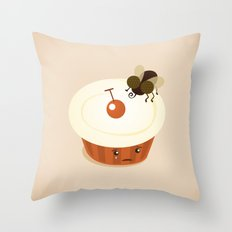Fly on a Cupcake Throw Pillow