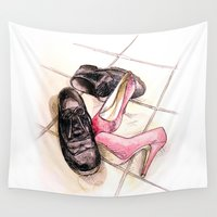 shoes Wall Tapestries featuring glittery shoes by Beth Jorgensen