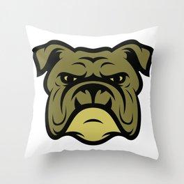Bulldog Illustration Throw Pillow