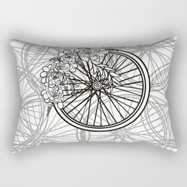 Bicycle Wheel Wreath Coloring Poster For Bike Lovers Rectangular Pillow