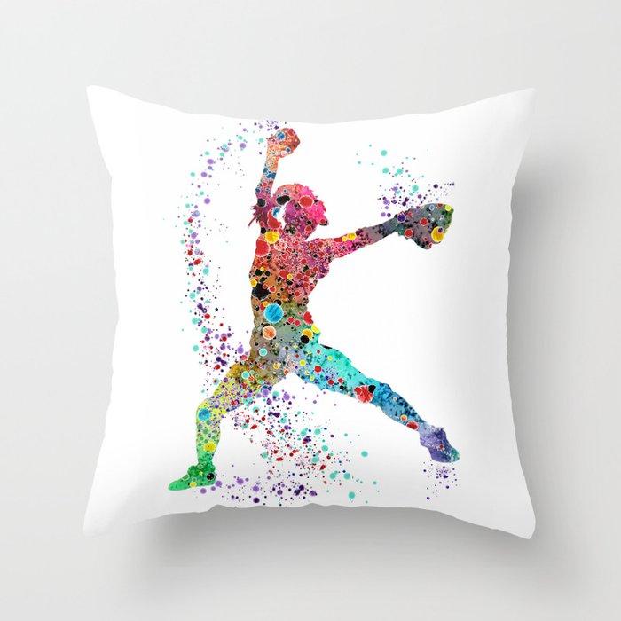 Baseball Softball Pitcher Watercolor Print Art Print Girl's Softball Painting Throw Pillow