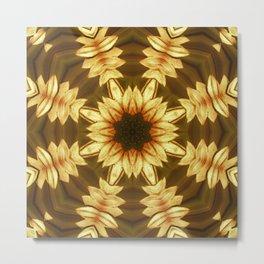 Kaleidoscope Sunflower Design Print Metal Print