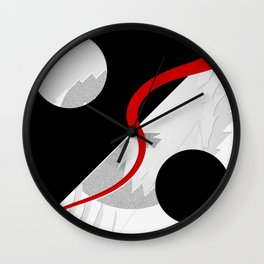 Black and white meets red version 36 Wall Clock