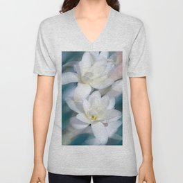 Flowers white macro 057 Unisex V-Neck