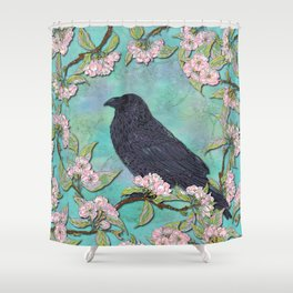 Raven and Apple Blossom Shower Curtain