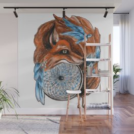 Fox on a Dreamcatcher Wall Mural