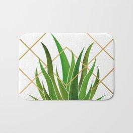Emerald Succulent with Metallic Gold Diamonds Bath Mat