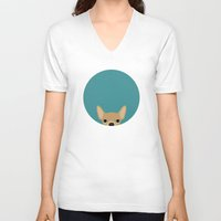 chihuahua V-neck T-shirts featuring Chihuahua by Anne Was Here