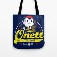 league Tote Bags featuring Onett little league by TeeKetch