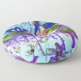 The blue lily water Floor Pillow