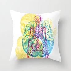Brain Skeleton Throw Pillow
