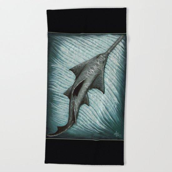 """Sawfish"" by Amber Marine ~ Acrylic Painting, (c) 2015 Beach Towel"