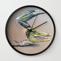 crocodile Wall Clocks featuring Crocodile by Jeanne Hollington
