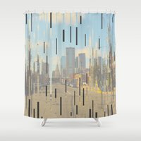 dallas Shower Curtains featuring Dallas by Cale potts Art