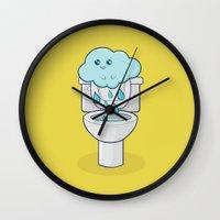 bathroom Wall Clocks featuring Bathroom Break by Ava Guerrero