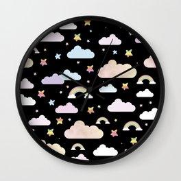 Rainbows in black Wall Clock