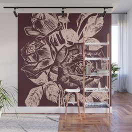 Burgundy in Rose Gold Wall Mural