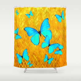 Gorgeous Gold Patterned Turquoise Butterflies Art Shower Curtain