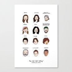 Gilmore Girls Mood Chart Canvas Print