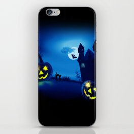 Background with pumpkins in Halloween party iPhone Skin