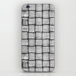 Wicker squares in black and white iPhone Skin