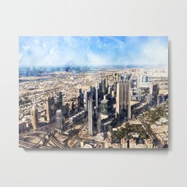 Dubai, United Arab Emirates Watercolor Skyline Metal Print