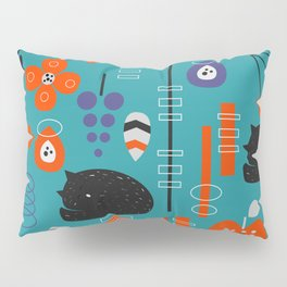 Modern birds and sleepy cats Pillow Sham