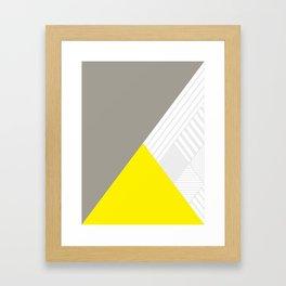 Minimal Triangles Yellow Framed Art Print