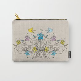 Shabby Chic vintage lily flowers bouquet and birds 1 Carry-All Pouch