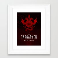 targaryen Framed Art Prints featuring House Targaryen Sigil III (house seat) by P3RF3KT