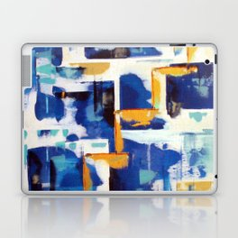 Stairway to Heaven: Abstract Acrylic Painting with blue and white and orange colors Laptop & iPad Skin
