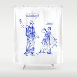 GODDESS STATUS  blue Shower Curtain