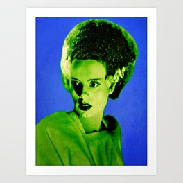 Blue and Green Bride of Frankenstein Pop Art Art Print