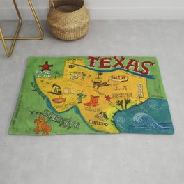 Postcard from Texas print Rug