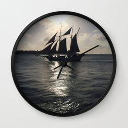 Pirate Sunset over Key West Wall Clock