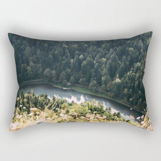 Aerial Forest River Rectangular Pillow