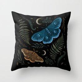 Moths and Ferns Throw Pillow