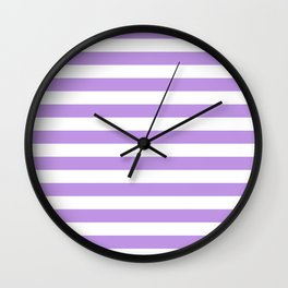 Narrow Horizontal Stripes - White and Light Violet Wall Clock