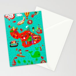 Maui Map Stationery Cards