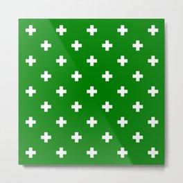 Swiss cross pattern on green Metal Print