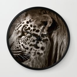 Lion Leopard Jaguar Cat Head Face Animal Fantasy Wall Clock