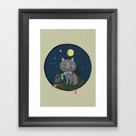 Cats love zombie meat! Framed Art Print