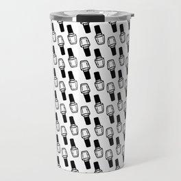 Kawaii Black Nail Polish Pattern Travel Mug