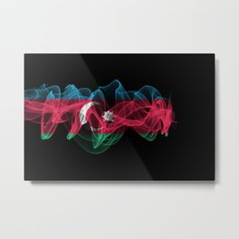 Azerbaijan Smoke Flag on Black Background, Azerbaijan flag Metal Print